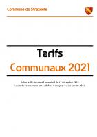 Tarifs communaux 2021